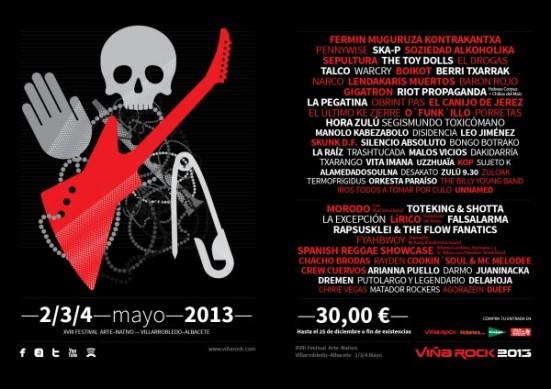 Cartel de la edición del festival Viña Rock 2013