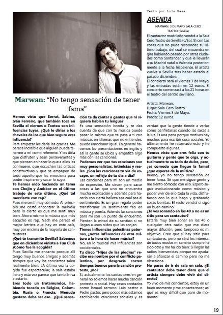 Cliquee sobre la imagen para ver la entrevista al completo con el artista. Página 19.