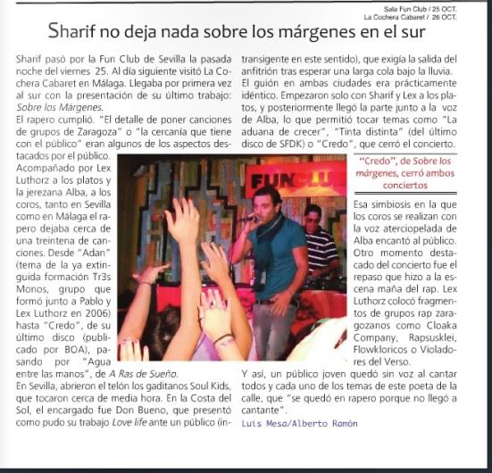 Sharif durante su actuación en la sala Fun Club. Fotografía por Rubén Colete.