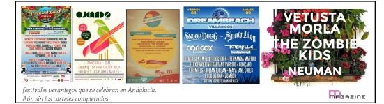 Carteles de los festivales a falta de más confirmaciones.