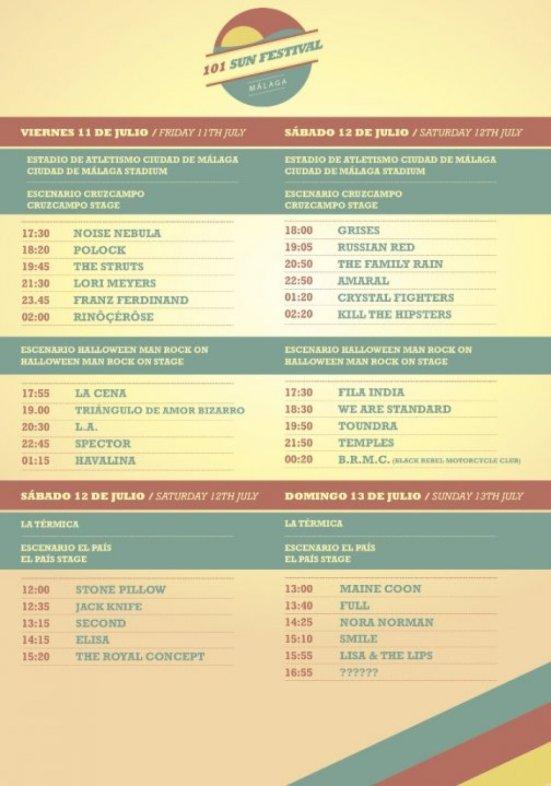 Horarios de los conciertos y escenario donde se celebran. // 101sunfestival.com