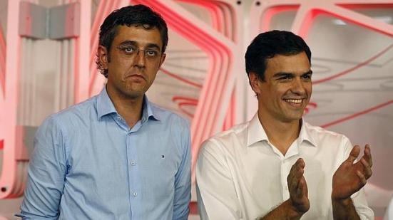 Eduardo Madina y Pedro Sánchez tras conocer el resultado de las primarias.
